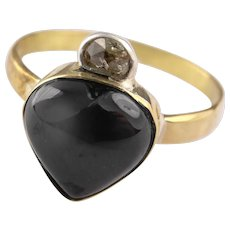 Gorgeous 15 ct gold ring set with large garnet puffy heart and a crescent diamond