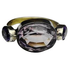 Stunning 1920s natural amethyst and 18ct gold ring