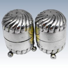 Antique 1895 solid silver Hirons and plante salt and pepper cellars,