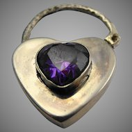 Beautiful vintage sterling silver and amethyst padlock