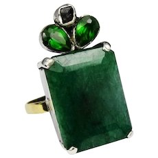 Emerald 18ct and diamond vintage statement ring