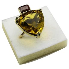 1940s 18 carat gold  Citrine and ruby statement cocktail ring