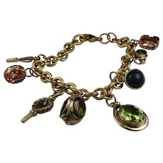 Vintage gold filled charm bracelet