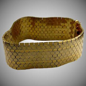 1950s Wide gold filled beehive link bracelet