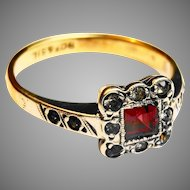 Gorgeous Ruby and Diamond art deco gold and silver ring