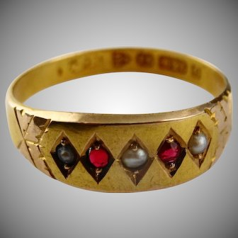 Antique 15ct gold ruby and pearl ring