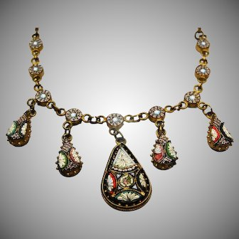 Antique micro mosaic necklace millefiori circa 1860- 1900 metal gilt rare piece