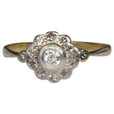 Antique 18 carat and platinum diamond Edwardian ring