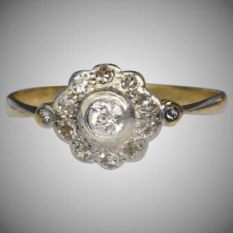 Antique 18 carat and platinum diamond Edwardian ring