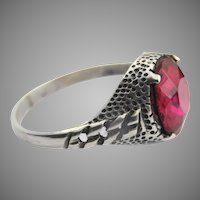 Gorgeous vintage sterling silver and ruby crystal chain link ring
