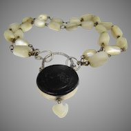Gorgeous mother of pearl and Baltic amber Victorian bracelet