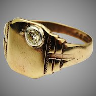 Vintage 9 375 carat gold diamond signet ring