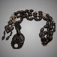 Antique carved jet necklace/bracelet