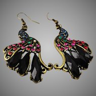 Gorgeous vintage crystal peacock earrings