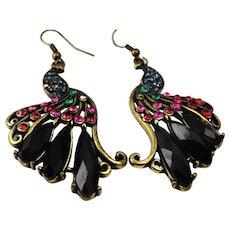 Gorgeous vintage crystal peacock earrings