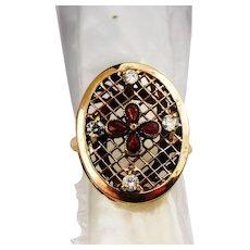 Edwardian diamond and garnet ring