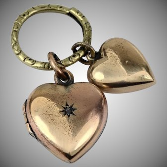 Sweet Gold Filled hearts on engraved ring