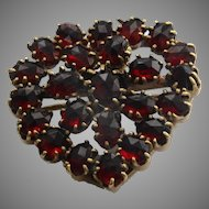 Garnet heart pendant and brooch