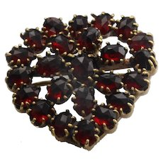 Garnet heart pendant and brooch
