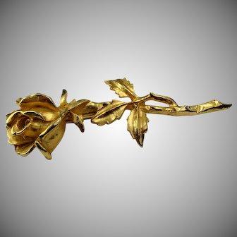 Stunning 1950s gold toned rose brooch