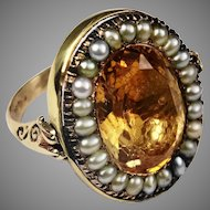 Georgian foiled back citrine and seed pearl ring