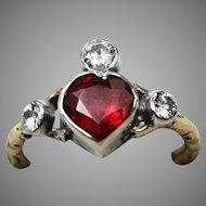 Stunning vintage upcycled ruby and diamond heart ring