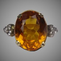 1940/50 Yellow citrine and diamond cocktail ring