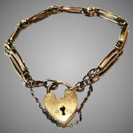 Antique Rolled Gold gate bracelet with mechanical padlock