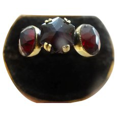 Beautiful Hexagon garnet three stone ring