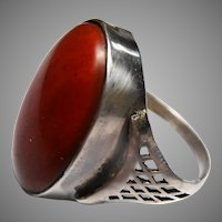 Arts and crafts sterling silver jasper ring