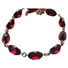 Garnet Crystal faceted necklace