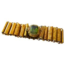 Victorian Book chain bracelet reversible  with double set tourmaline clasp