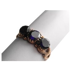 Natural amethyst rose gold vintage ring