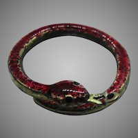 Red enamelled snake split ring with bale