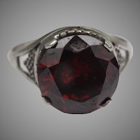 Stunning garnet and silver heart ring