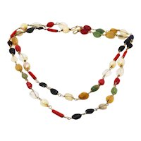Vintage precious and semi precious stone long necklace
