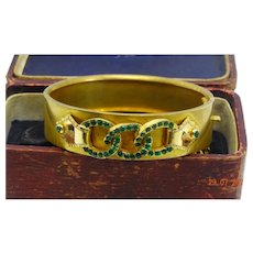 Gorgeous antique Victorian pinchbeck and emerald paste bangle