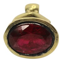 Beautiful heart fob seal charm pendant set with red rhodolite crystal
