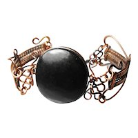 Gutta percha and metalwork early bracelet