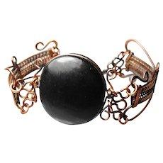Gutta percha and metalwork early bracelet