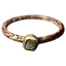 Gilt and enamel silver raw diamond ring
