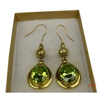 Peridot Crystal vintage earrings