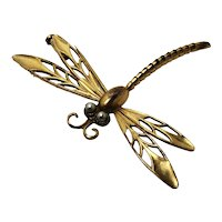 Andreas Daub rolled gold, pearl dragonfly brooch