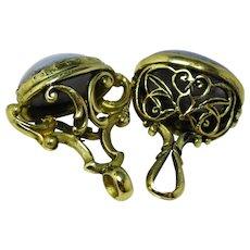 Set of fob seal charm pendants set with chalcedony
