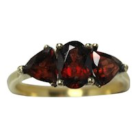 Vintage garnet trilogy ring