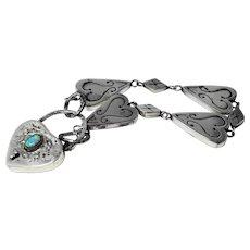Gorgeous silver bracelet with opal padlock