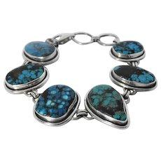 Natural Turquoise and silver vintage bracelet