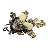 Victorian  Scottish thistle acorn posy holder brooch