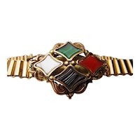 Beautiful Rolled gold scottish agate bracelet