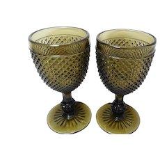 Black/brown glass Hobnail goblets